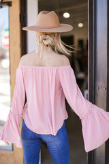 Bell Sleeve Off-the-Shoulder Top in Blush Back View