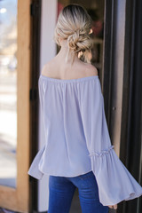 Bell Sleeve Off-the-Shoulder Top in Grey Back View