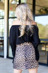 Microsuede Leopard Skirt Back View
