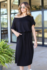 Black - Drawstring Midi Dress