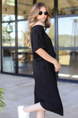 Black - Drawstring Midi Dress from Dress Up