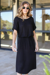 Model wearing a black Drawstring Midi Dress