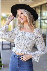 Smocked Floral Blouse in Ivory Front View