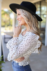 Smocked Floral Blouse in Ivory Side View