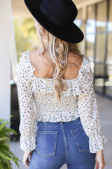 Smocked Floral Blouse in Ivory Back View