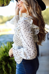 Ivory - Dress Up model wearing a Smocked Floral Blouse