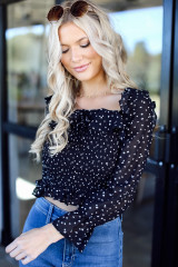 Black - Smocked Floral Blouse