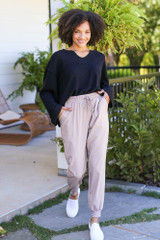 Taupe - Drawstring Joggers from Dress Up