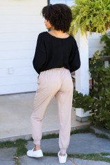 Drawstring Joggers in Taupe Back View