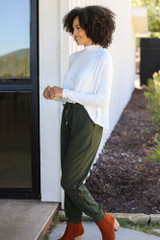 Drawstring Joggers in Olive Side View