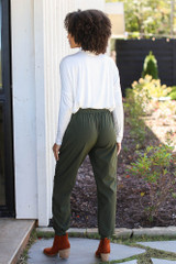 Drawstring Joggers in Olive Back View