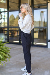 Drawstring Joggers in Black Side View