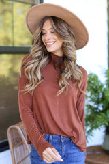 Camel - Dress Up model wearing a Mock Neck Top with a wide brim hat