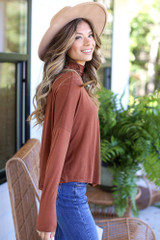 Mock Neck Top in Camel Side View