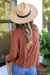 Mock Neck Top in Camel Back View