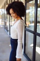 Crochet Lace Bodysuit in White Front View