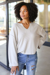 Grey - Oversized Waffle Knit Top from Dress Up
