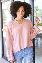 Blush - Model wearing an Oversized Waffle Knit Top with jeans