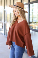Oversized Waffle Knit Top in Camel Side View