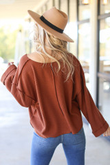 Oversized Waffle Knit Top in Camel Back View