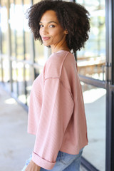Oversized Waffle Knit Top in Blush Side View