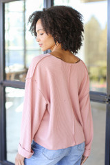 Oversized Waffle Knit Top in Blush Back View