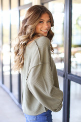 Oversized Waffle Knit Top in Olive Side View