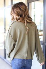 Oversized Waffle Knit Top in Olive Back View