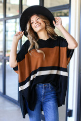 Black - Striped Sweater Tunic from Dress Up