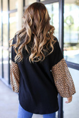 Waffle Knit Statement Sleeve Top Back View
