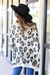 Oversized Leopard Sweater Back View