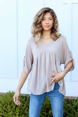 Taupe - Model wearing a Babydoll Blouse with jeans