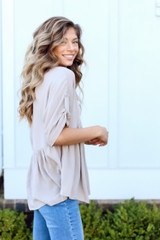 Babydoll Blouse in Taupe Side View