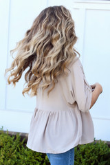 Babydoll Blouse in Taupe Back View