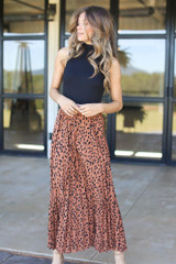 Pleated Leopard Maxi Skirt Front View