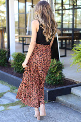 Pleated Leopard Maxi Skirt Back View