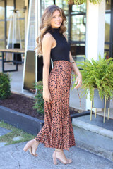 Pleated Leopard Maxi Skirt Side View