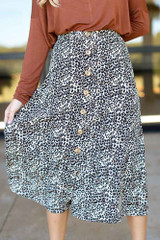 Leopard - Button Front Midi Skirt from Dress Up