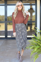 Dress Up model wearing a Leopard Button Front Midi Skirt