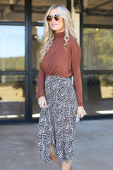 Leopard Button Front Midi Skirt Side View