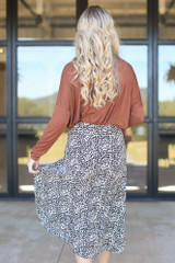 Leopard Button Front Midi Skirt Back View