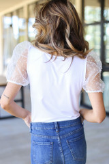 Swiss Dot Puff Sleeve Top in White Back View