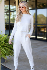Heather Grey - Dress Up model wearing Drawstring Joggers