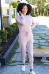 Blush - Model wearing Drawstring Joggers with the matching pullover