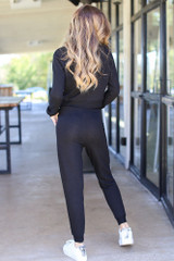 Drawstring Joggers in Black Back View