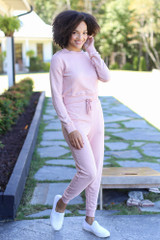 Drawstring Joggers in Blush Front View