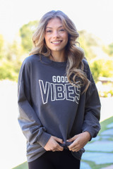 Model wearing the Good Vibes Pullover