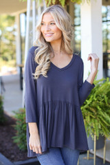 Charcoal - Dress Up model wearing an Oversized Babydoll Top