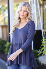 Charcoal - Oversized Babydoll Top Front View