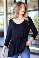 Black - Dress Up model wearing an Oversized Babydoll Top with jeans